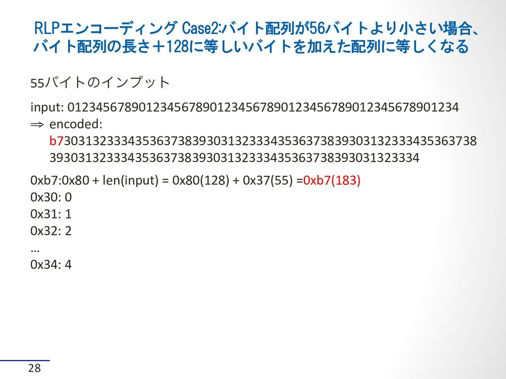 RLPエンコーディング Case2:バイト配列が56バイトより小さい場合、 バイト配列の長さ+...