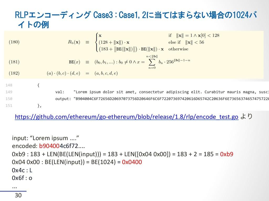 RLPエンコーディング Case3 : Case1, 2に当てはまらない場合の1024バ イト...