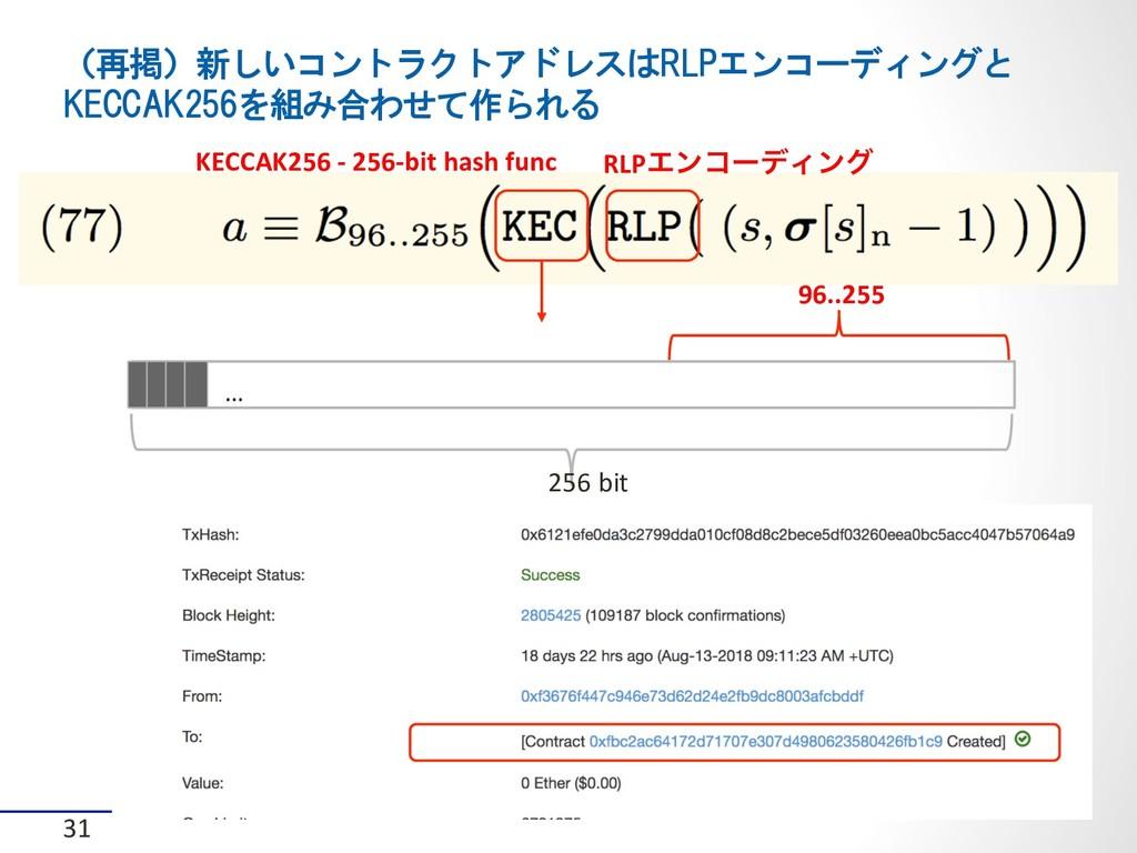 (再掲)新しいコントラクトアドレスはRLPエンコーディングと KECCAK256を組み合わせて...