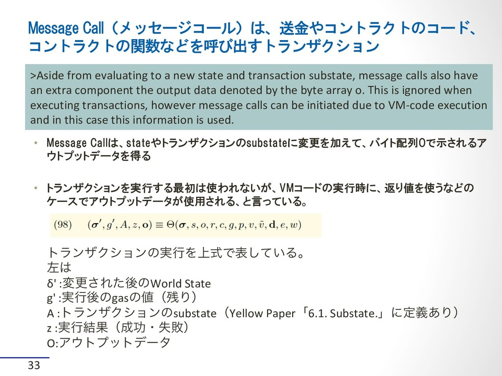 Message Call(メッセージコール)は、送金やコントラクトのコード、 コントラクトの関...