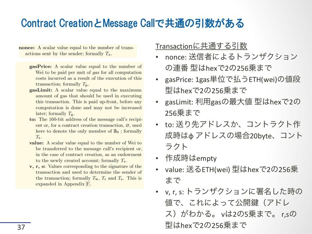 Contract CreationとMessage Callで共通の引数がある 37 Tran...
