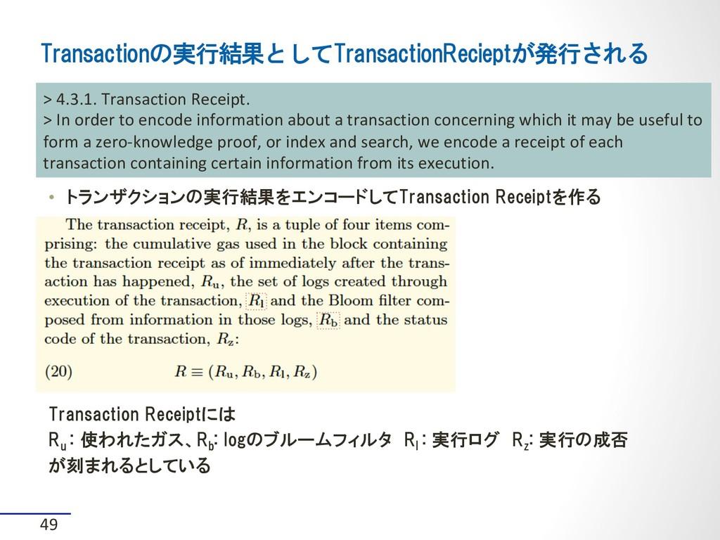 • トランザクションの実行結果をエンコードしてTransaction Receiptを作る ...