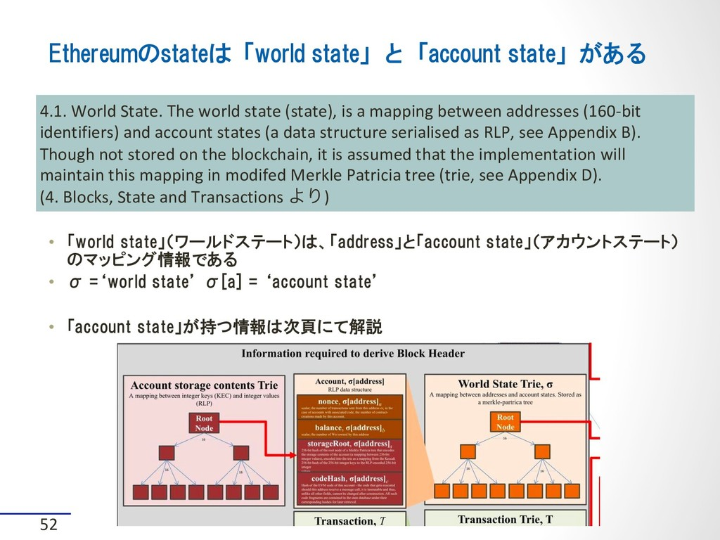 Ethereumのstateは「world state」と「account state」がある...