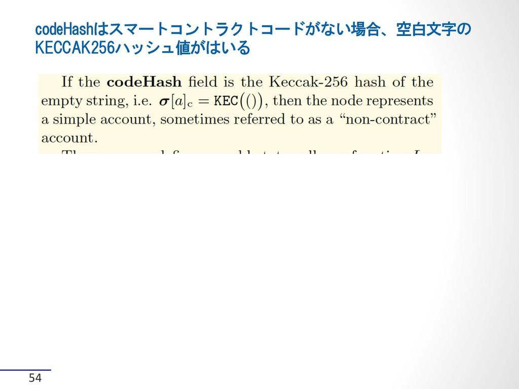 codeHashはスマートコントラクトコードがない場合、空白文字の KECCAK256ハッシュ...