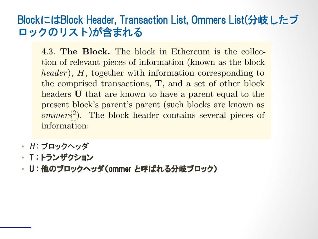 • H : ブロックヘッダ • T : トランザクション • U : 他のブロックヘッダ...
