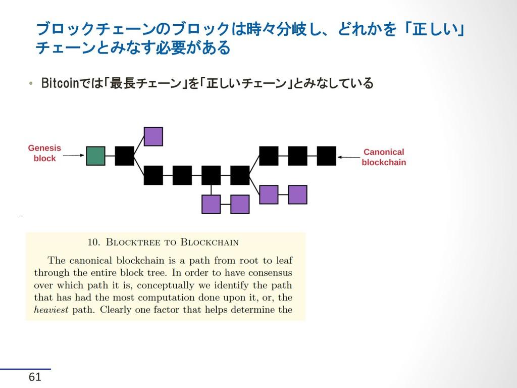 • Bitcoinでは「最長チェーン」を「正しいチェーン」とみなしている ブロックチェーンの...