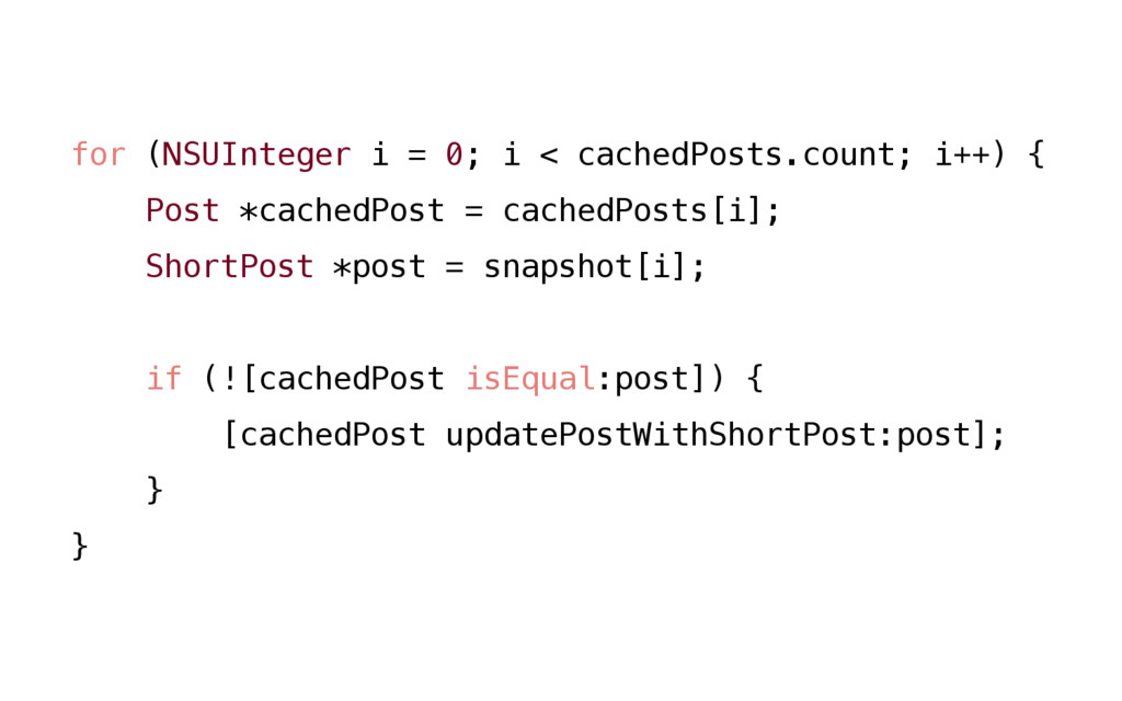 for (NSUInteger i = 0; i < cachedPosts.count; i...