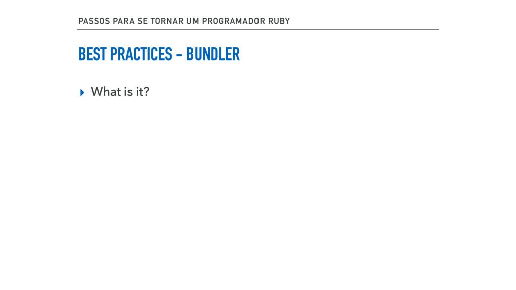 BEST PRACTICES - BUNDLER ▸ What is it? PASSOS P...