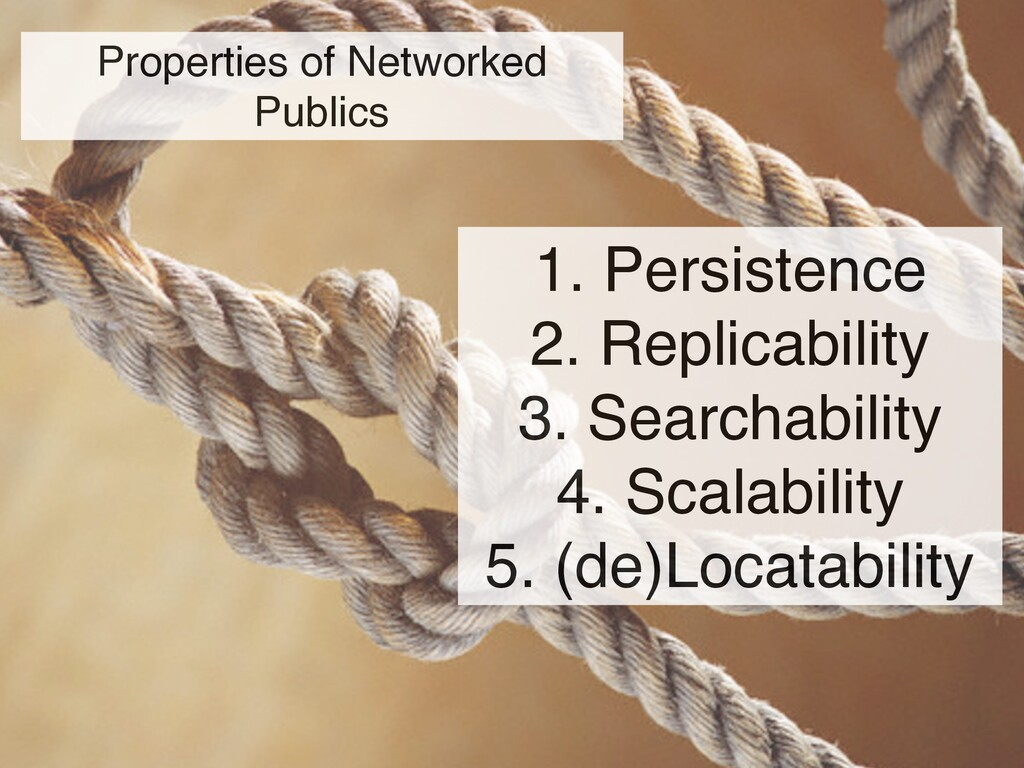 Properties of Networked Publics 1. Persistence ...