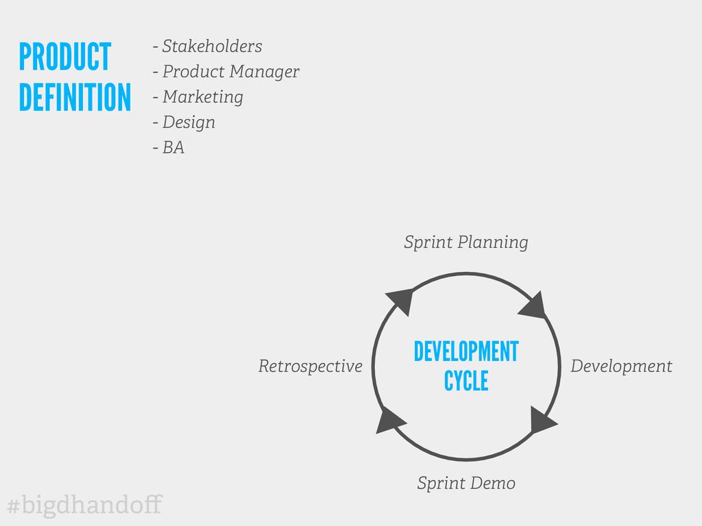 #bigdhandoff Sprint Planning Sprint Demo Develop...