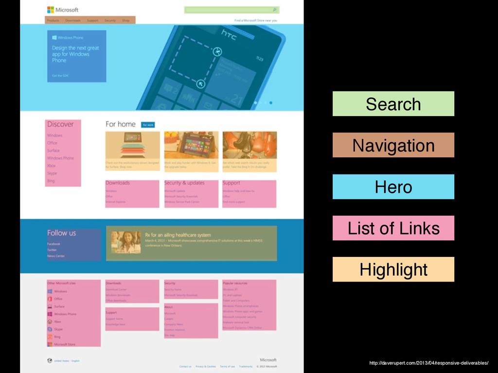Search Navigation Hero List of Links Highlight ...
