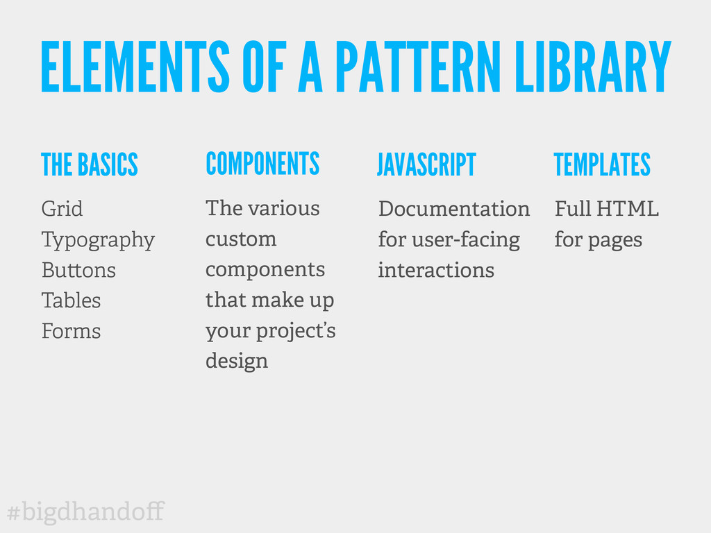 #bigdhandoff ELEMENTS OF A PATTERN LIBRARY THE B...