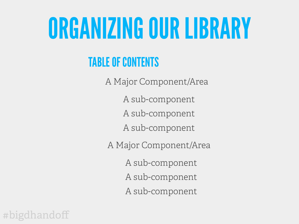 #bigdhandoff ORGANIZING OUR LIBRARY TABLE OF CON...