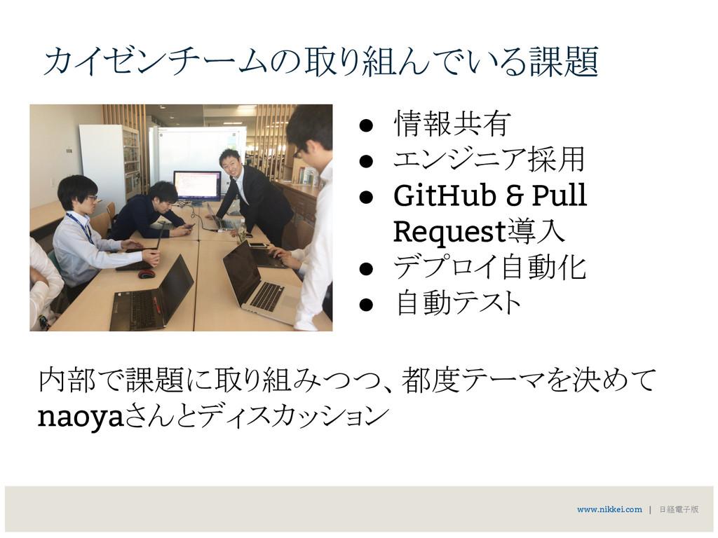 カイゼンチームの取り組んでいる課題 ● 情報共有 ● エンジニア採用 ● GitHub & P...
