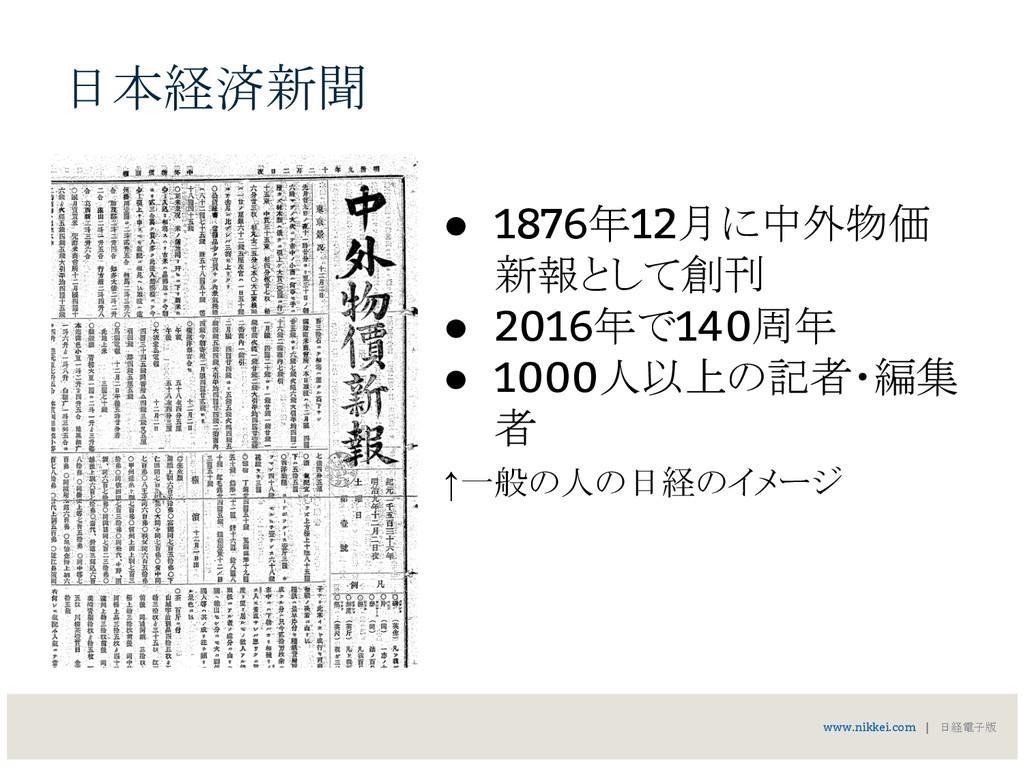 日本経済新聞 www.nikkei.com   日経電子版 ● 1876年12月に中外物価 新...