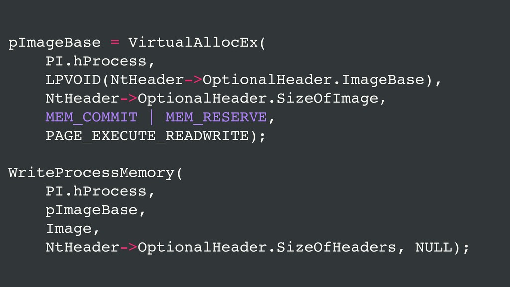 pImageBase = VirtualAllocEx( PI.hProcess, LPVOI...