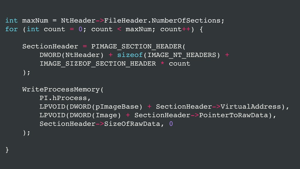 int maxNum = NtHeader->FileHeader.NumberOfSecti...