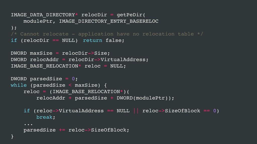 IMAGE_DATA_DIRECTORY* relocDir = getPeDir( modu...