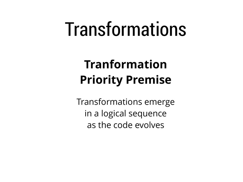 Transformations Tranformation