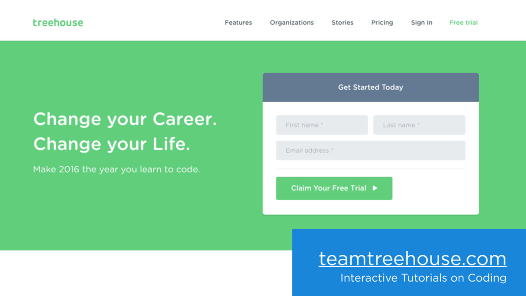 teamtreehouse.com Interactive Tutorials on Codi...