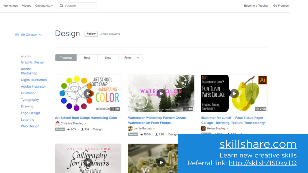 skillshare.com Learn new creative skills Referr...