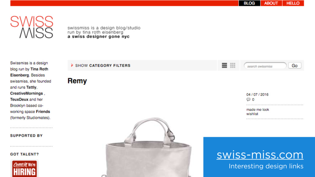 swiss-miss.com Interesting design links
