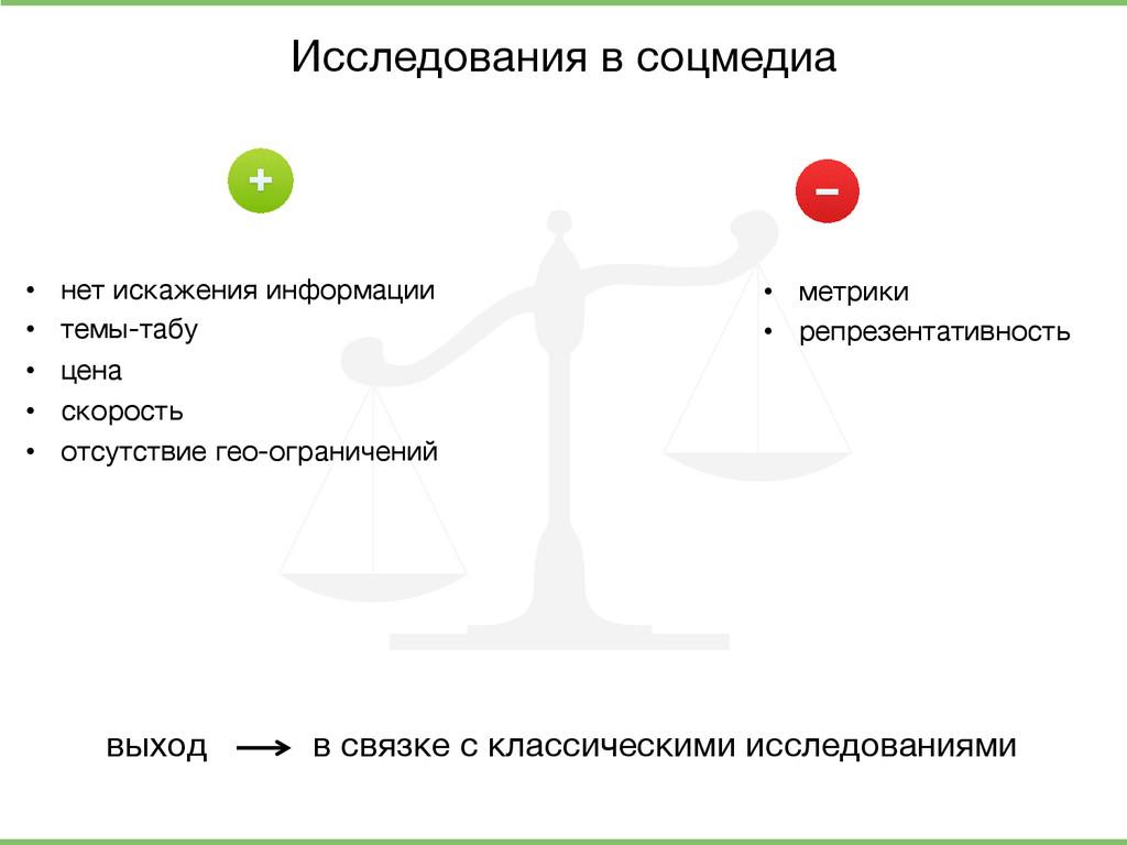 Исследования в соцмедиа  • нет искажения инфо...