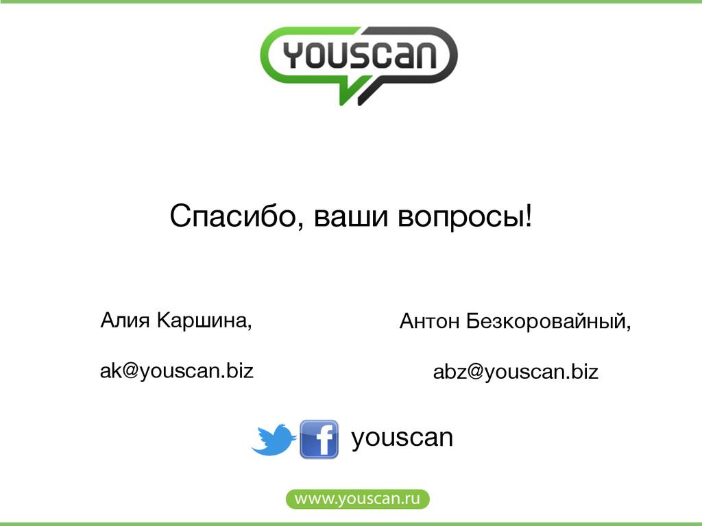 Cпасибо, ваши вопросы! youscan Алия Каршина, ...