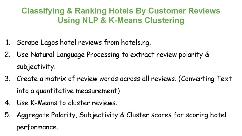 Classifying & Ranking Hotels By Customer Review...
