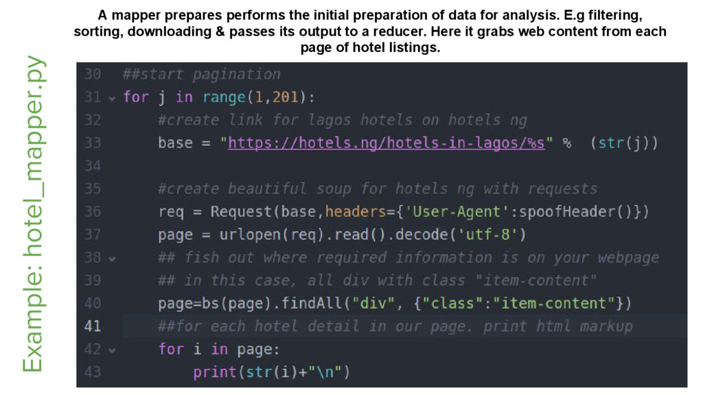 Example: hotel_mapper.py A mapper prepares perf...