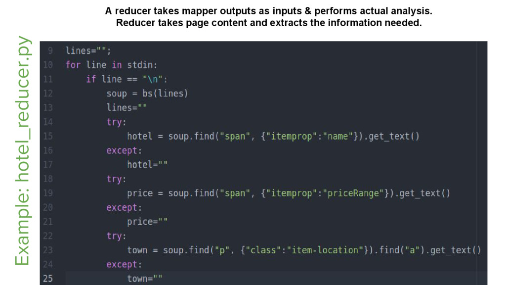 Example: hotel_reducer.py A reducer takes mappe...