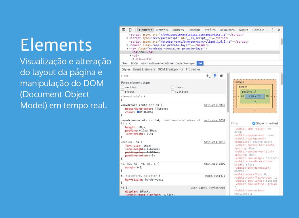 Elements Visualização e alteração do layout da ...