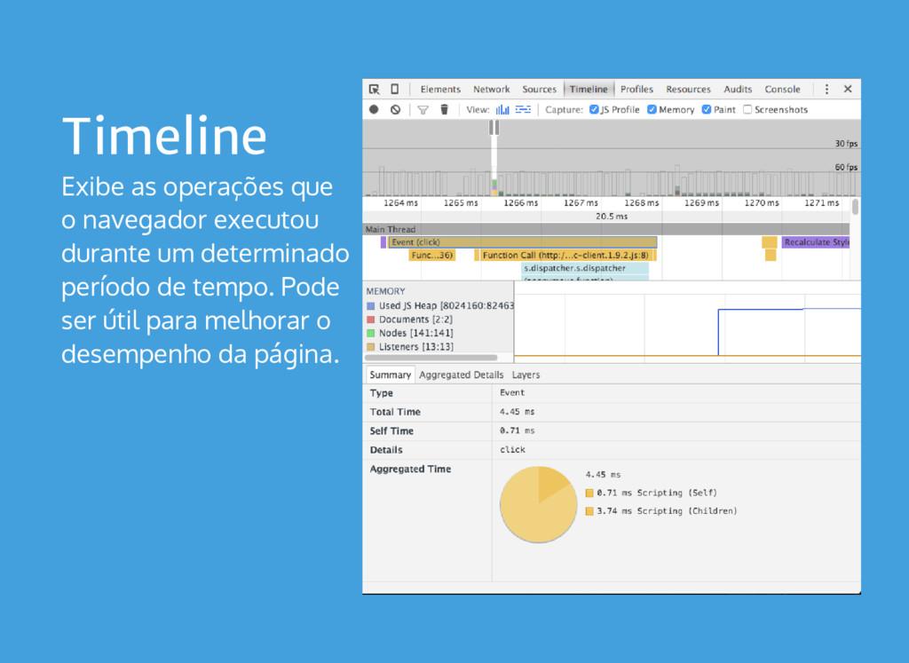 Timeline Exibe as operações que o navegador exe...