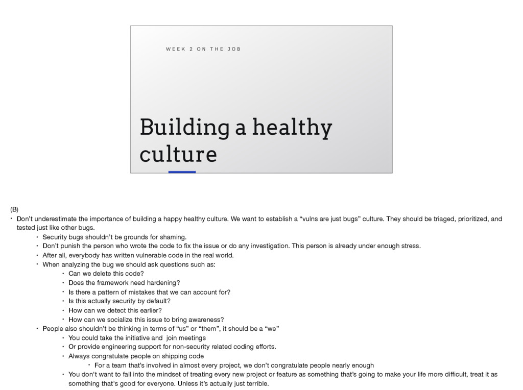 Building a healthy culture W E E K 2 O N T H E ...