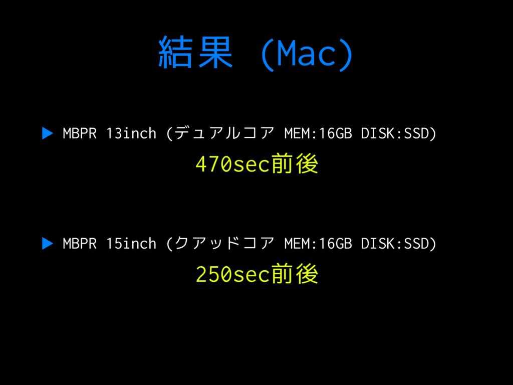 結果 (Mac) ▶ MBPR 13inch (デュアルコア MEM:16GB DISK:SS...