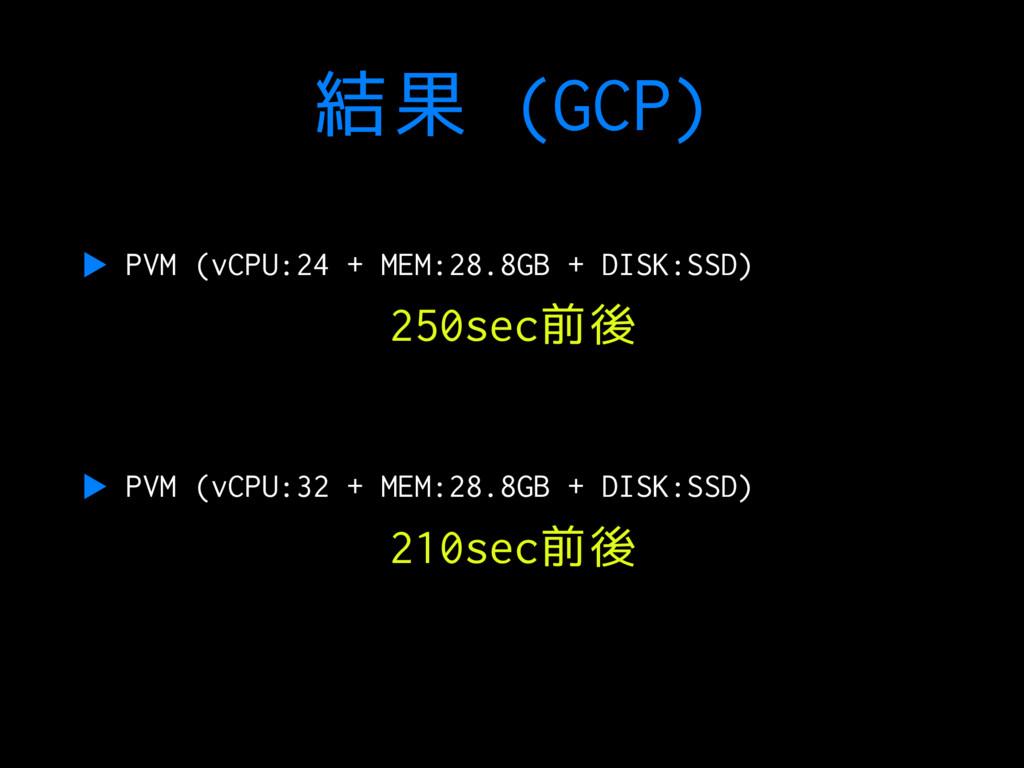結果 (GCP) ▶ PVM (vCPU:24 + MEM:28.8GB + DISK:SSD...