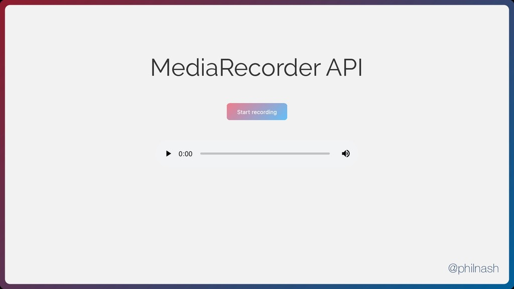MediaRecorder API Start recording 0:00 0:00 @ph...
