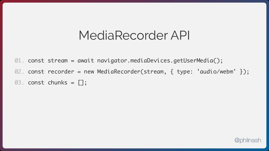 MediaRecorder API const stream = await navigato...