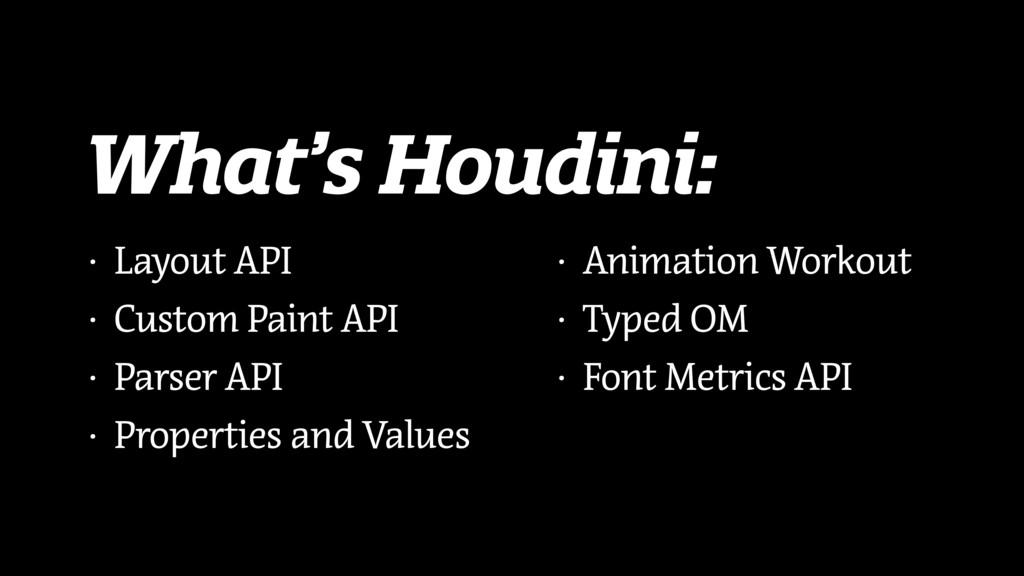 What's Houdini: • Layout API • Custom Paint API...