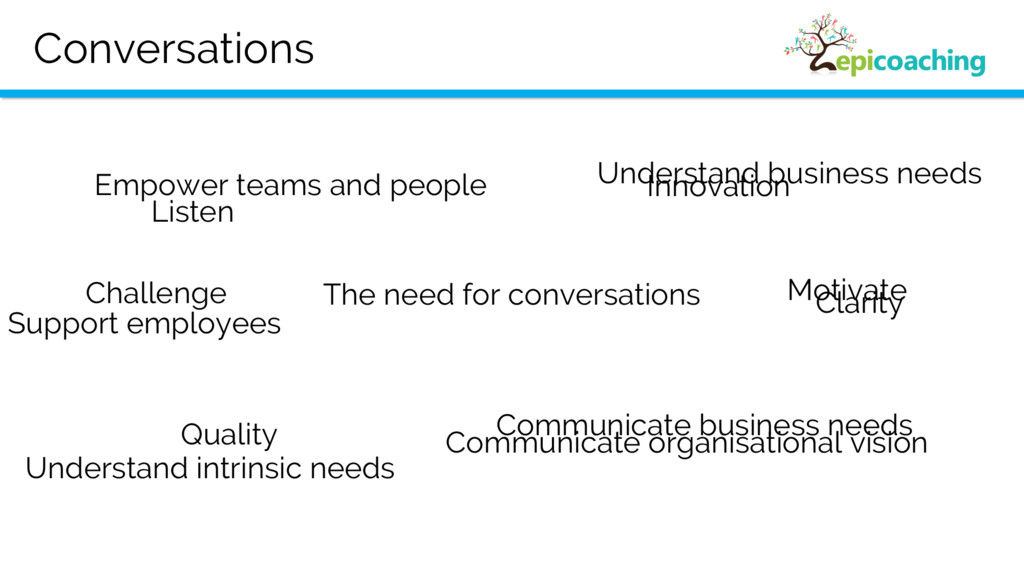 Conversations The need for conversations Qualit...