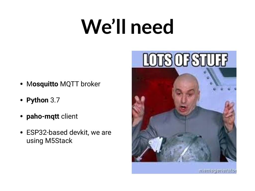 We'll need • Mosquitto MQTT broker • Python 3.7...