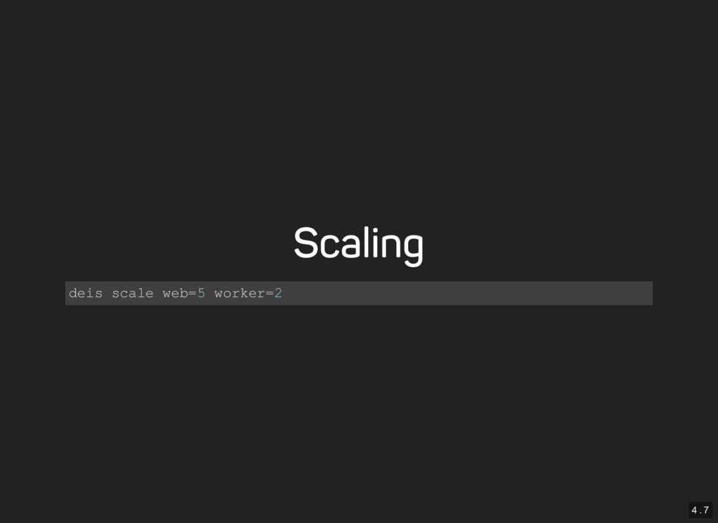 4 . 7 Scaling deis scale web=5 worker=2