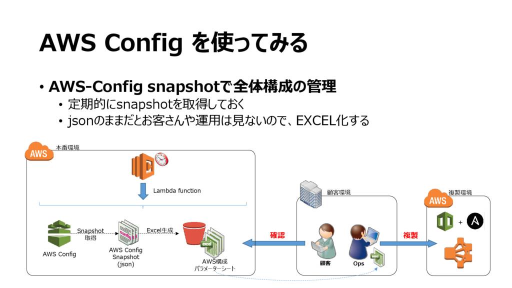 AWS Config を使ってみる • AWS-Config snapshotで全体構成の管理...