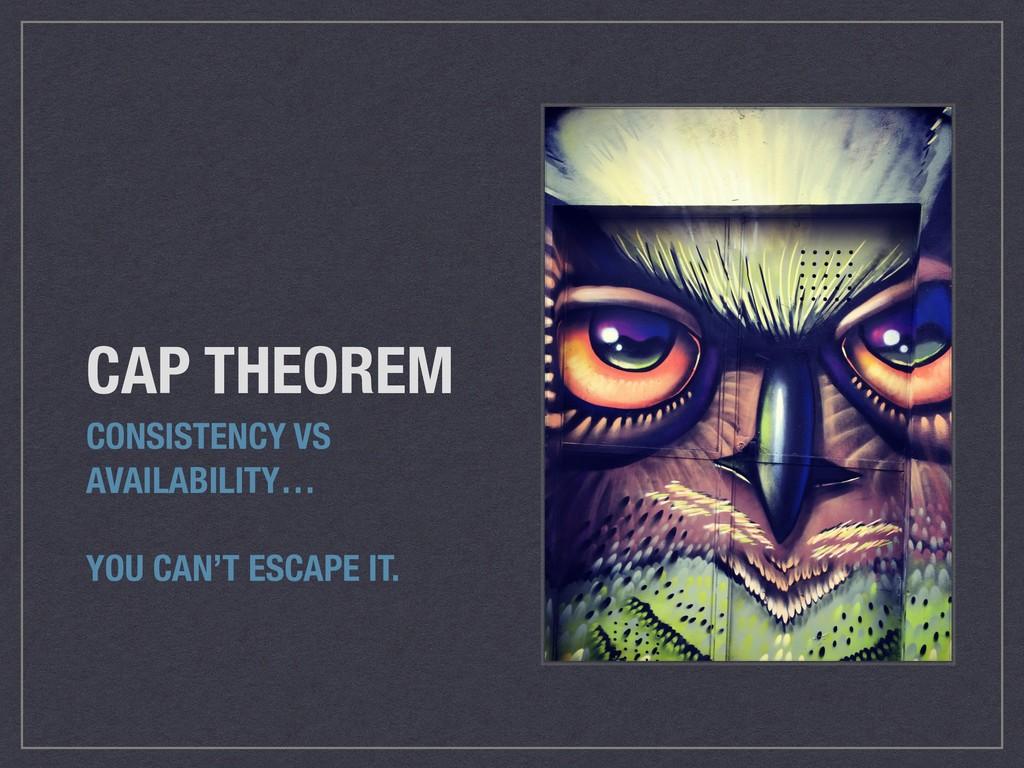 CAP THEOREM CONSISTENCY VS AVAILABILITY… YOU CA...