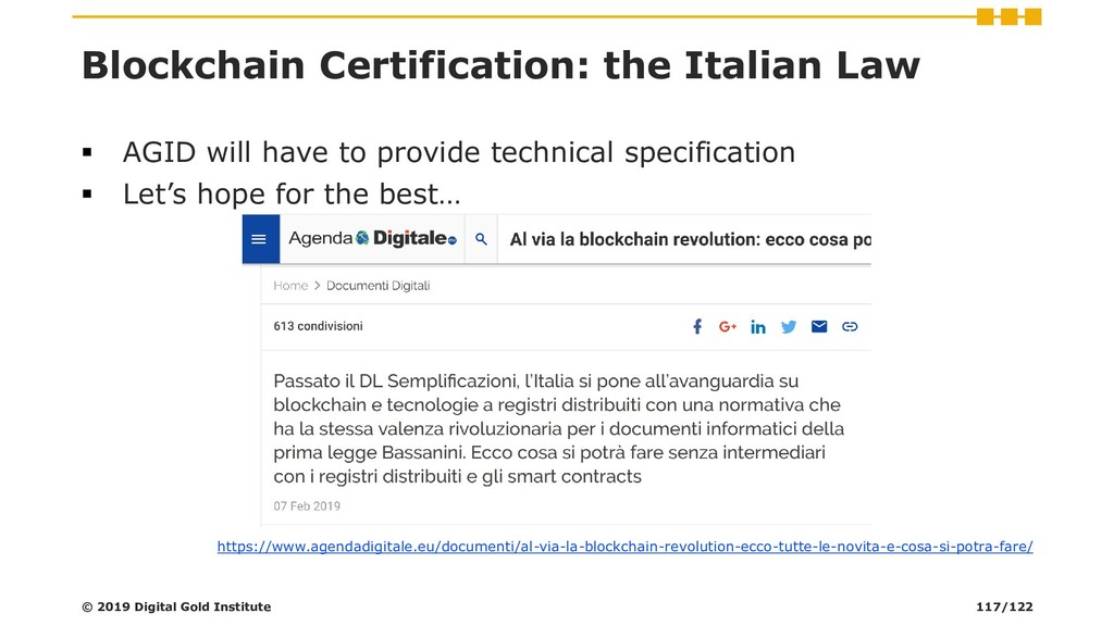 Blockchain Certification: the Italian Law ▪ AGI...
