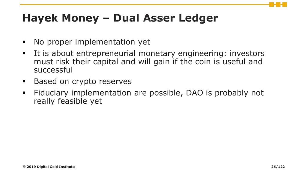 Hayek Money – Dual Asser Ledger ▪ No proper imp...
