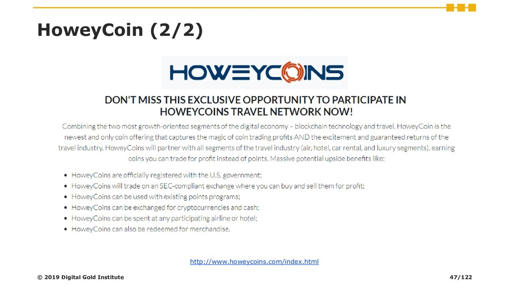 HoweyCoin (2/2) © 2019 Digital Gold Institute h...