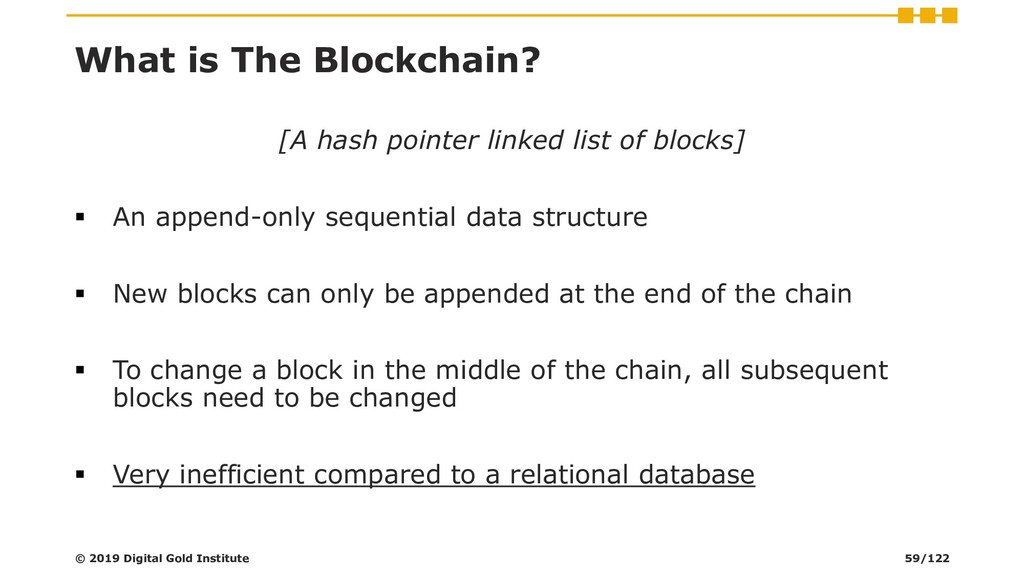 What is The Blockchain? [A hash pointer linked ...